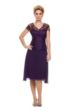 Short Sleeve Modest Mother of the Bride Formal Dress