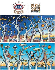 """The City of Sydney's New Years Eye celebrations party is called """"Shine"""". The theme? A WHOLE BUNCH OF CREEPY EYES EVERYWHERE. Posters of the event are currently all around the city."""
