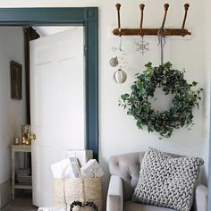 Frosted Faux Ivy wreath, £70, The White Company