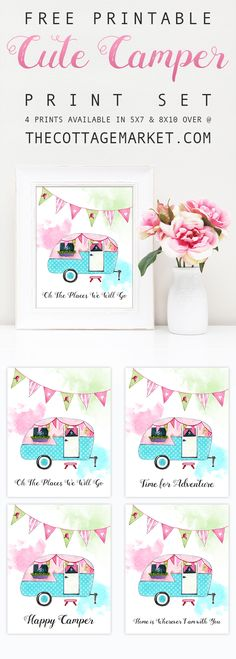 Fun Free Printable Cute Camper Print Set that will make you smile!  Looks great on the wall...shelf...bulletin board or in a Retro Vignette and more!