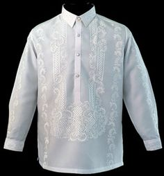 A handsome Raya Barong Tagalog put this white dress shirt a cut above the rest that gives this high-grade Jusi fabric Barong Tagalog a sophisticated, formal effect.  High-quality 100% Jusi Fabric  Formal fit  Fully Embroidered  Straight collar, cuff buttons  Traditional four-button front     Price:  $104.99