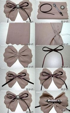 DIY Hair Bow craft idea. Will change it up to make fabric christmas bows for gifts