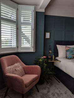 Panelled feature wall painted in Farrow and Ball Inchyra blue. Blue Feature Wall Bedroom, Dark Blue Bedroom Walls, Blue Green Bedrooms, Blue Bedroom Colors, Bedroom Green, Master Bedroom Interior, Home Decor Bedroom, Farrow And Ball Bedroom, Farrow And Ball Paint