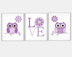 Baby Nursery Wall Art Purple Gray Owls Flower LOVE Chevron Bab Nursery Decor Little Girls Room 3 Print Set  CUSTOMIZE COLORS