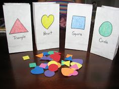 Quick and simple shape sorting for preschoolers.