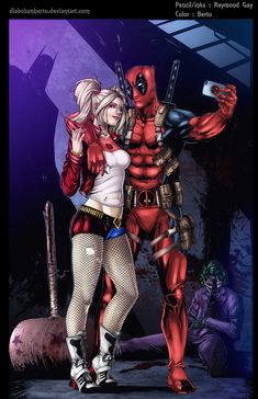 Harley Quinn & Deadpool by Raymond Gay