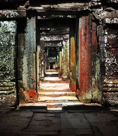 Tunnel of doors at Ankor Wat