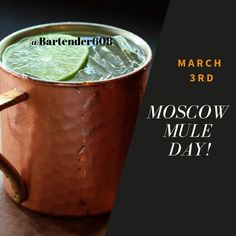 Three ingredients make this refreshing cocktail: vodka, ginger beer, and lime ! Invented in the Moscow Mule got its start like many stars: on Hollywood's Sunset Strip. Mule Days, March 3rd, Refreshing Cocktails, Catering Services, Ginger Beer, Moscow Mule Mugs, Bartender, New Recipes, Drink