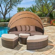 Bayou Breeze Olu Patio Daybed with Cushions | Wayfair Daybed Canopy, Daybed Sets, Patio Loveseat, Patio Canopy, Sofa Daybed, Sectional Sofa, Outdoor Daybed, Outdoor Wicker Furniture, Patio Furniture Sets