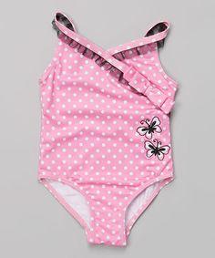 Look what I found on #zulily! Pink Polka Dot Ballerina Surplice One-Piece - Infant #zulilyfinds