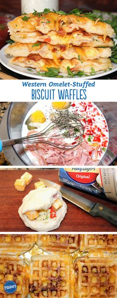 Western Omelet-Stuffed Biscuit Waffles are a big WIN for  a hearty breakfast! This one especially gives a spin on the classic western omelet. Simply stuff flaky biscuits with bell peppers, ham and cheese and clamp it down on your waffle iron.
