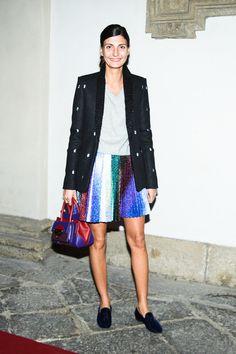 Giovanna Battaglia at the Salvatore Ferragamo party hosted by Vogue Italia in Milan. Work Fashion, Star Fashion, Fashion Outfits, Fashion Design, Street Fashion, Fashion Week 2018, Milan Fashion Weeks, Giovanna Battaglia, How To Dye Fabric