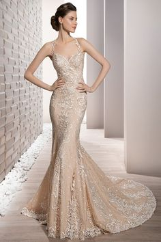 Demetrios Wedding Dress -Style 705 : Embroidered venice lace adorns this form fitting sheath halter gown with sweetheart neckline and delicate sheer lace low back finished with a chapel train. Wedding Dresses Photos, Wedding Dress Styles, Dream Wedding Dresses, Bridal Dresses, Wedding Gowns, 2017 Wedding, 2017 Bridal, Lace Wedding, Dress Attire