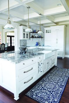 White Gray Kitchen Island with Coffered Ceiling, SilverHardware, Marble Countertop
