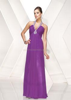 Purple Chiffon Halter Prom Dress V Neck Empire Long Evening Gowns 2012
