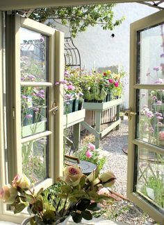 Cottage garden through the window. Window View, Open Window, Ventana Windows, Cottage Windows, Garden Windows, Looking Out The Window, Backyard, Patio, Through The Window