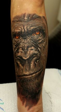 Silverback Gorilla Angry Tattoo gorilla face tattoo on thigh: real . Wicked Tattoos, Great Tattoos, Unique Tattoos, Artistic Tattoos, Small Tattoos, Gorilla Tattoo, Arm Tattoos, Body Art Tattoos, Tatoos