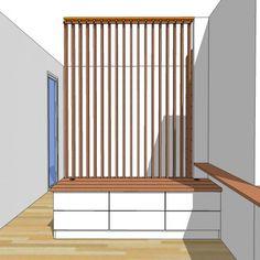 Fabrication sur mesure d'un meuble bas et claustra mobile - Delphine weiss - Decor, Hallway Decorating, Wood Room, House Entrance, Living Room Style, Home Decor, Appartment Decor, Kitchen Remodel Design, House Interior Decor