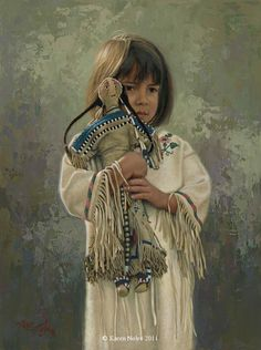 """""""Shy Little Sioux Girl"""" Original Oil x -Western and Native American Fine Art by Karen Noles Native Child, Native American Children, Native American Quotes, Native American History, Native American Indians, American Symbols, Native American Paintings, American Artists, Native Indian"""