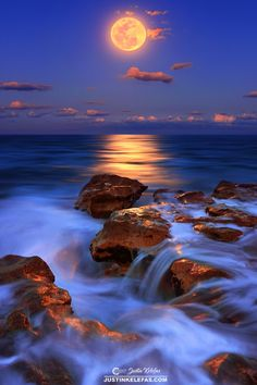 Moonlight - Full moon over Carlin Park Beach in Jupiter, Florida.