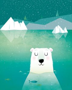 Hey, I found this really awesome Etsy listing at https://www.etsy.com/listing/193683815/nursery-art-polar-bear-illustration
