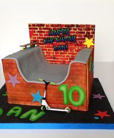 Skate Park Cake Park Birthday, Birthday Ideas, Birthday Cake, Skateboard Party, Lane Cake, Cake Stuff, Skate Park, Logan, Projects To Try