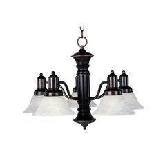 Maxim Lighting Chandelier with White Glass in Oil Rubbed Bronze Finish | 20325MROI | Destination Lighting