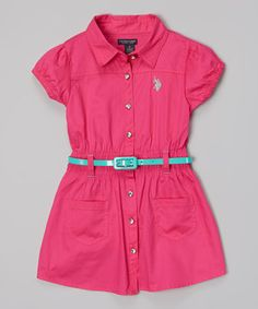 Loving this U.S. Polo Assn. Pink Kite Belted Button-Up Dress - Infant, Toddler & Girls on #zulily! #zulilyfinds