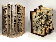 Artist Brian Dettmer alters pre-existing books one page at a time using knives, tweezers and surgical tools. He begins by sealing the books edges, creating an enclosed vessel full of unearthed potential. Nothing inside the old encyclopedias, medical journals, illustration books, or dictionaries is relocated or implanted, only removed. His precision is unreal!  http://honestlywtf.com/art/book-doctor/