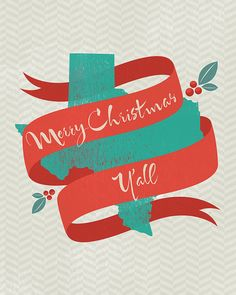 Merry Christmas Y'all  TEXAS  Print at home by owlloveart on Etsy, $8.00