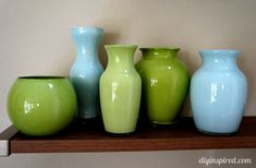 Painted Colored Glass Vases - DIY Inspired