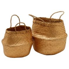 A glam take on our natural straw baskets, these gold versions would look great holding scarves or towels, or simply displayed as decoration.