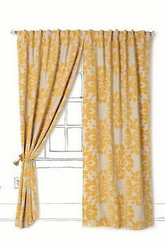 anthropologie coqo yellow linen curtain