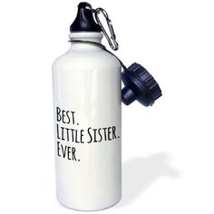 3dRose Best Little Sister Ever - Gifts for younger and youngest siblings - black text, Sports Water Bottle, 21oz