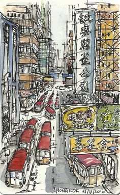 Mongkok, Hong Kong by Paul Wang Sketchbook Inspiration, Art Sketchbook, Hong Kong Art, Pen And Wash, Watercolor Architecture, Cityscape Art, Artist Journal, Urban Sketchers, Watercolor And Ink