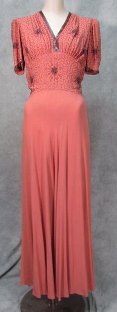 1940s Dress Long Dress Beaded Crawford Dress Formal by klassicline