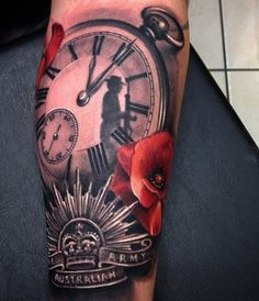 Relistic watch with flower and crown tattoo for man - 100 Awesome Watch Tattoo Designs  <3 <3