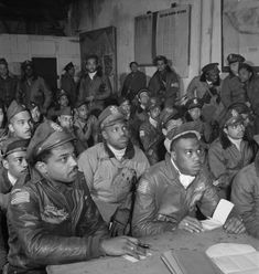 Tuskegee airmen at a briefing in Ramitelli, Italy, 1945