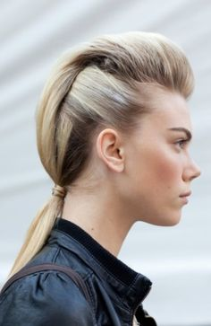 Faux Hawks at Clover Canyon - 10 Cool Fall Fashion Week Hair Styles . Hair Day, New Hair, Pretty Hairstyles, Easy Hairstyles, Fashion Hairstyles, Rocker Hair, Haircut Tip, Runway Hair, Great Hair