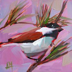 Chickadee no. 552 original bird oil painting by Angela Moulton