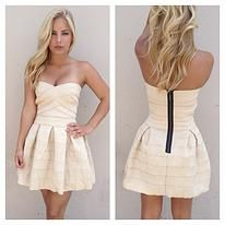 Cream Strapless Babydoll Dress - $59.00