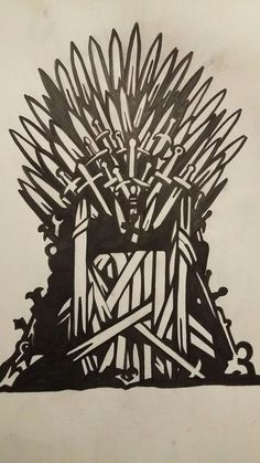 Game of Thrones- Iron throne stencil - Game of Thrones Game Of Thrones Tattoo, Dessin Game Of Thrones, Game Of Thrones Drawings, Game Of Thrones Cake, Game Of Thrones Facts, Game Of Thrones Quotes, Game Of Thrones Funny, Game Thrones, Geeks