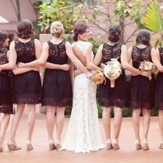 I like this picture for wedding party and the lace bridesmaid dresses!!
