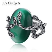 US $2.90 K's Gadgets Carved Ring Antique Silver Plate Natural Green opal Jewelry Vintage Retro Rings Zircon Big Stone Ring For Women. Aliexpress product