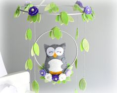 Musical Owl mobile - woodland - You can pick your own colors - purple, gray, silver, green, white - nursery decor