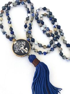 Items similar to Elephant Tassel Necklace, Sodalite Mala Knotted Necklace on Etsy- Knot Necklace, Boho Necklace, Stone Necklace, Fashion Necklace, Tassel Jewelry, Beaded Jewelry, Jewelery, Jewelry Necklaces, Bracelets
