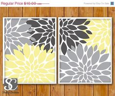 BLACK FRIDAY SALE Floral Flower Burst Gray Yellow by scadesigns