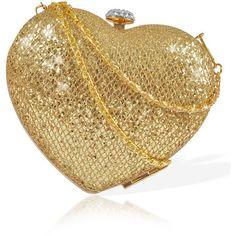 'LOVE HEART' MISTRESS ROCKS GOLD GLITTER HEART CLUTCH BAG ($54) ❤ liked on Polyvore