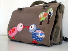 Messenger bag Birds in love Shoulder bag upcycled german army bag by fingerfabrik, $70,00 Original, individual upcycling!  Original large german army bags become unique bags! The lovely bird couple is handmade from original 70s fabric