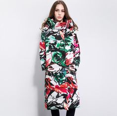 Twitter Cool Things To Buy, Stuff To Buy, Flower Prints, Hoods, I Am Awesome, High Neck Dress, 2016 Winter, Plus Size, Jackets